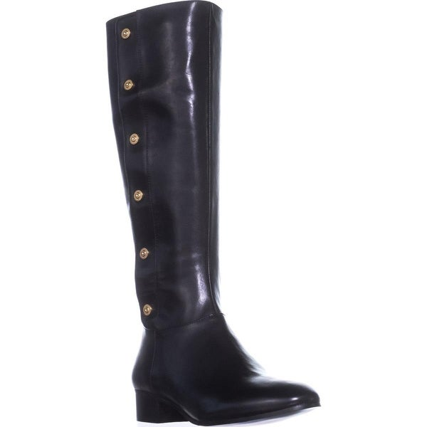 Nine West Oreyan Knee High Riding Boots, Black Leather
