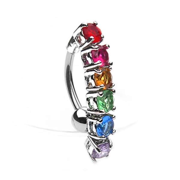 "Gay Pride Rainbow CZ Drop Navel Belly Button Ring - 14GA 3/8"" Long"