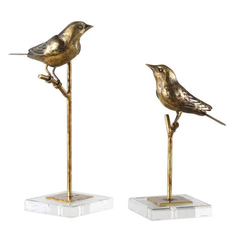 Uttermost 18898 Passerines Two Piece Iron Bird Statue Set by Grace - Antique Gold Leaf
