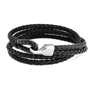 Bling Jewelry Black Braided Leather Necklace Double Wrap Bracelet Steel