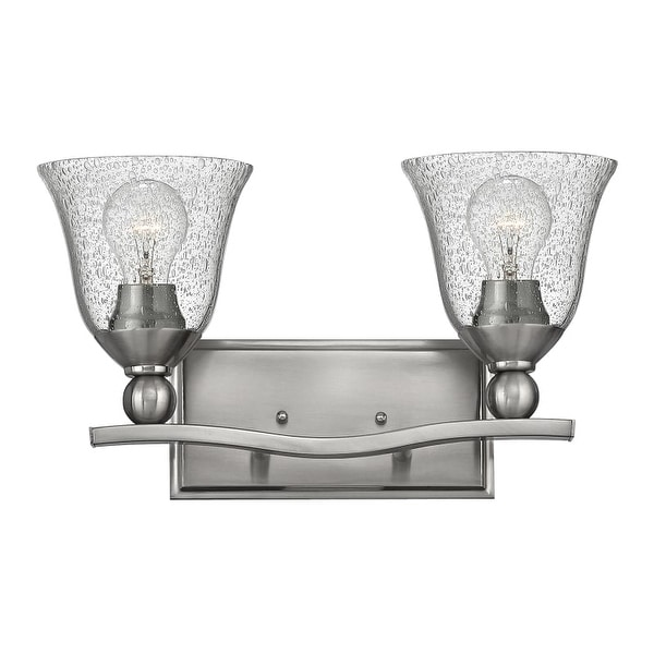 Hinkley Lighting 5892-CL 2 Light Bathroom Vanity Light with Seedy Clear Glass Shades from the Bolla Collection