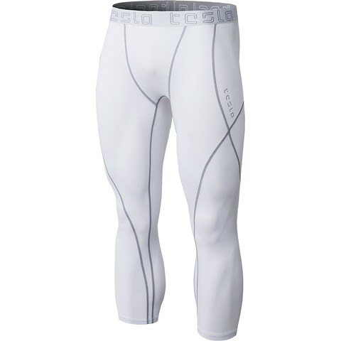 Tesla MUS17 Cool Dry Baselayer Sport Compression Shorts - White/Steel