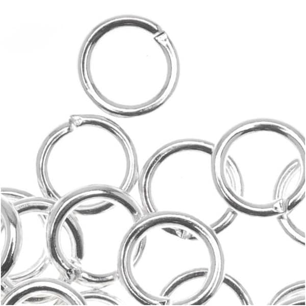 Silver Plated Open Jump Rings 6mm 18 Gauge (50)