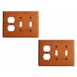 2 Switch Wall Cover plate Cherry Double Toggle/Outlet