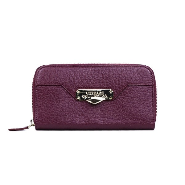 Versace Collection Maroon Grained Leather Zip Around Continental Wallet