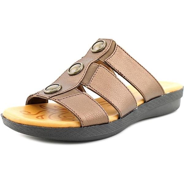 Easy Street Bide Women WW Open Toe Canvas Brown Slides Sandal