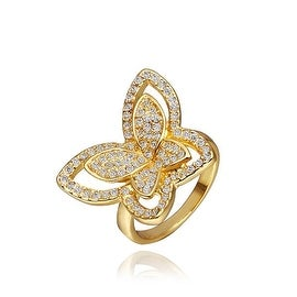 Gold Plated Flying Butterfly Jewels Covered Ring