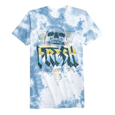 American Rag Womens Fresh Rocker Tie-Dyed Graphic T-Shirt, Blue, Small