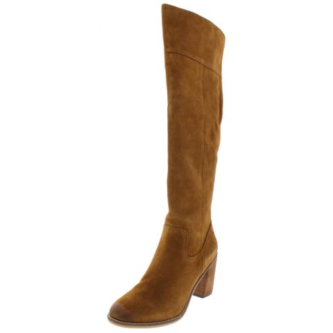 Steve Madden Womens Palisade Thigh-High Boots Suede Stacked Heel