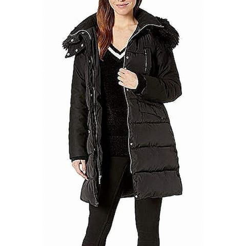 French Connection Womens Jacket Puffer Hooded Faux Fur