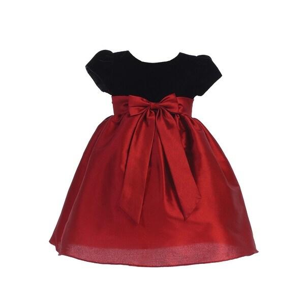 lito girls red black velvet ribbed poly silk ribbon christmas dress - Girls Red Christmas Dress