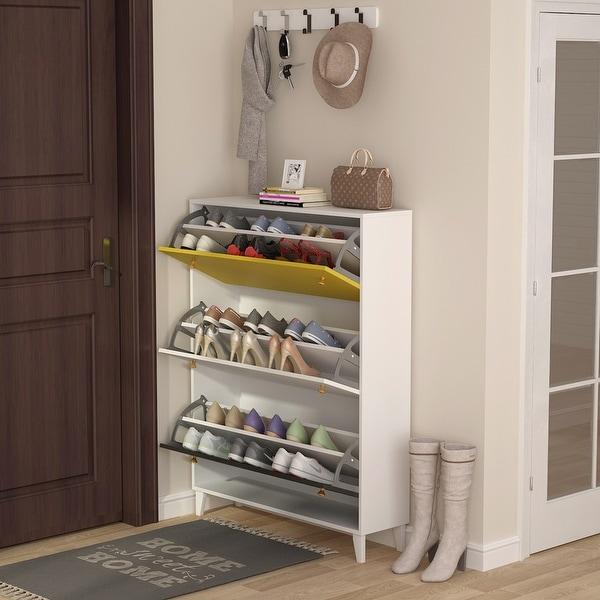 Modern 3 Drawer Shoe Cabinet, 3-Tier