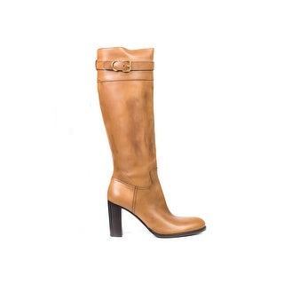 Car Shoe By Prada Cognac Brown Leather Knee High Boots