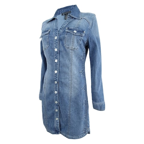 3b36a238f20 INC International Concepts Women s Embroidered Denim Shirtdress - Indigo