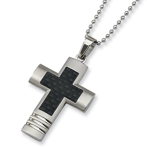 Chisel Stainless Steel Cross Necklace with Black Carbon Fiber on 22 Inch Chain (2 mm) - 22 in