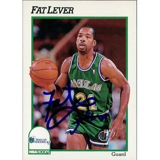 Signed Lever Fat Dallas Mavericks 1991 NBA Hoops Basketball Card autographed