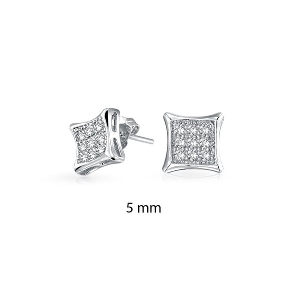 Square Shaped Cubic Zirconia Micro Pave Cz Kite Stud Earrings For Men 925 Sterling Silver 11mm On Free Shipping Orders Over 45