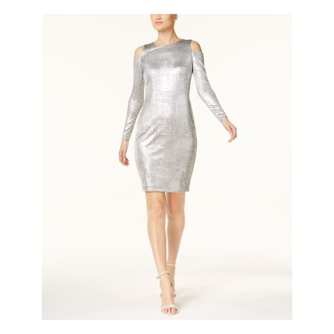 CALVIN KLEIN Silver Long Sleeve Above The Knee Skinny Dress Size 8