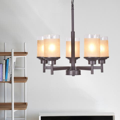 Gymax Elegant Modern Ceiling 5-Light Chandelier Lighting Fixture Pendent Lamp Home