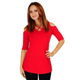 Simply Ravishing Women's Cold Shoulder Criss Cross Neck Half Sleeve Top (Size: S-5X)