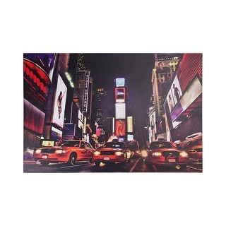 "LED Lighted NYC Times Square Broadway Taxi Cabs Canvas Wall Art 15.75"" x 23.5"""