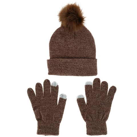 Alexa Rose Women's Marl Beanie and Texting Glove Set - one size