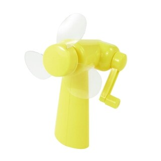 Portable Travel Outdoor Plastic Windmill Shaped Hand-held Mini Fan Yellow