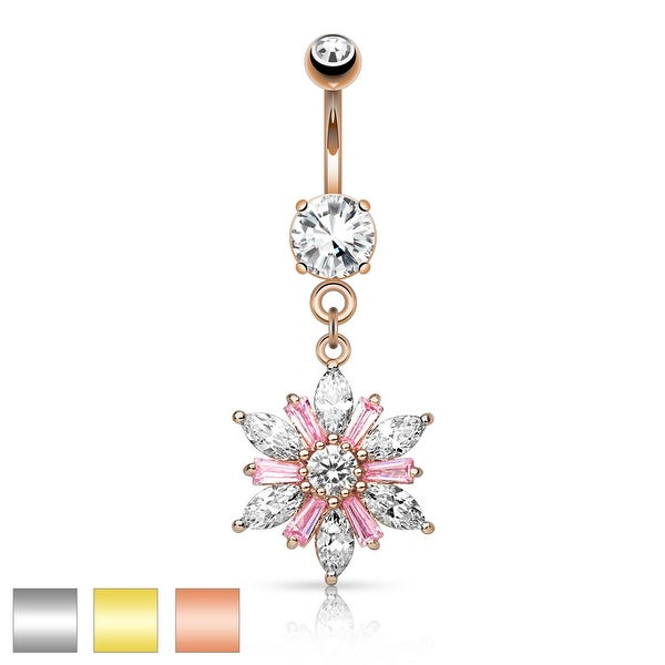 Marquise Cut CZ Petals with Princess Cut Pink CZ Center Flower Dangle Navel Ring