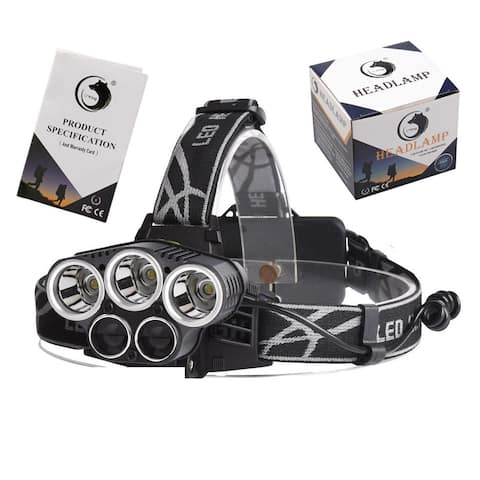 5-LED Headlamp 5 Levels Charge by Micro USB Blac