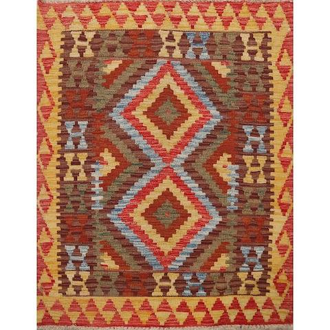 "South-Western Reversible Kilim Oriental Wool Area Rug Hand-Woven - 3'5"" x 3'8"""
