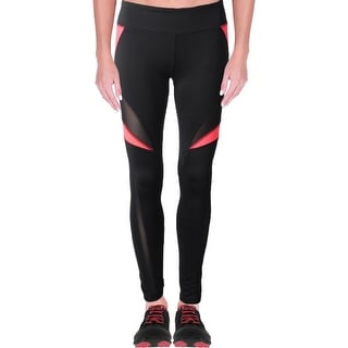 Central Park Womens Athletic Leggings Mesh Inset Colorblock Black S