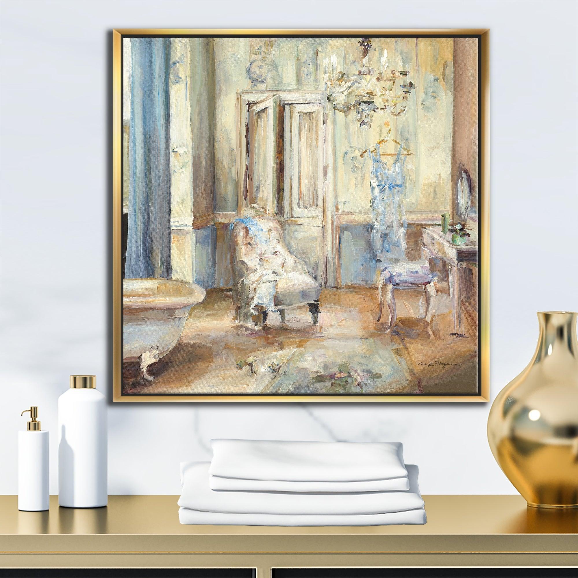 Designart French Boudoir Bath I Traditional Bathroom Framed Canvas Blue Overstock 25981190