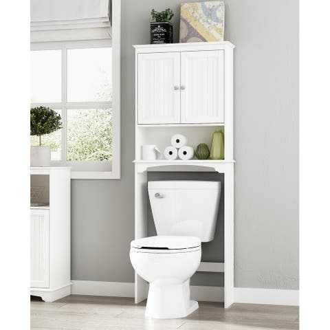 Spirich-Bathroom Shelf Storage Cabinet Over the Toilet with door,Collection Spacesaver,White