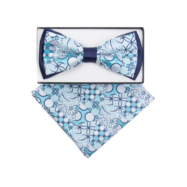 Two Tone Checker  Men/'s Pre-tied Bowtie or with Pocket Square Hanky Blue Black