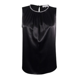 Kasper Women's Plus Size Pleated Embellish Satin Top - Black