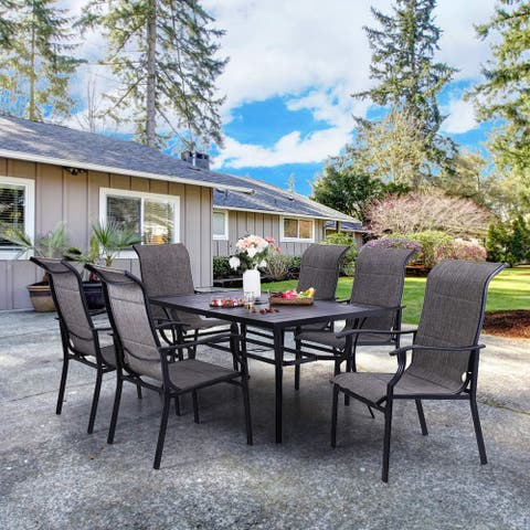"Sophia & William 7 PCS Patio Dining Set, 6 x Textilene Padded Dining Chairs and 1 Metal Table with 2.6"" Umbrella Hole"