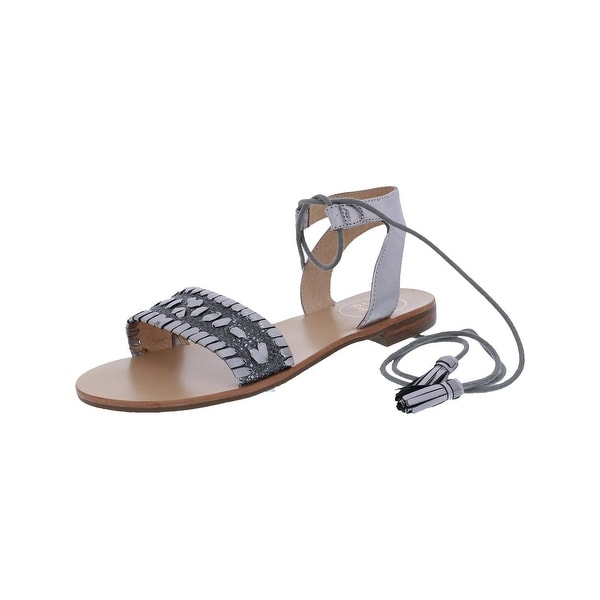 Jack Rogers Womens Tate Raffia Flat Sandals Lace-Up Open Toe