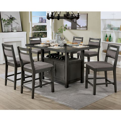 Furniture of America Bjoro Transitional Grey 7-piece Counter Dining Set