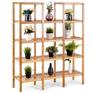 Costway Multifunctional Bamboo Shelf Flower Plant Stand Display Storage Rack Unit Closet - bamboo color