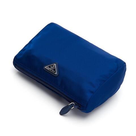 "Prada Tessuto Nylon Triangle Logo Small Toiletry Case Bluette Blue 1NA011 - 8"" x 5.5"""