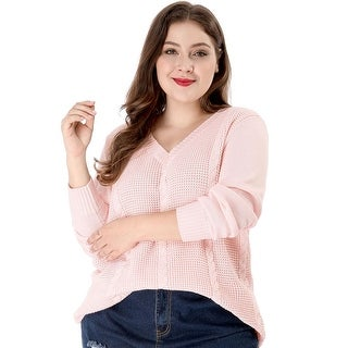 Link to Women's Plus Size Cable Knit Long Sleeve V Neck Sweater - Pink Similar Items in Tops