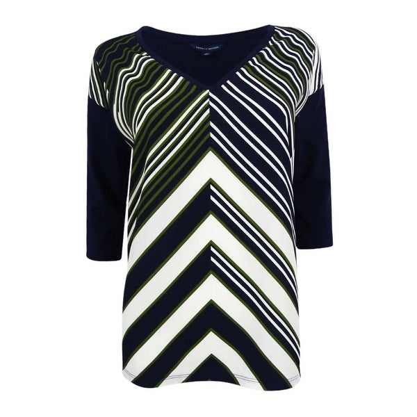 febf20794 Shop Tommy Hilfiger Women's Shiloh Chevron-Stripe T-Shirt - Olive Night  Print - On Sale - Free Shipping On Orders Over $45 - Overstock - 17795596