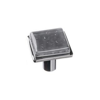 Sietto K-1301 Geometric 1-1/4 Inch Square Cabinet Knob with Slate Gray Glass