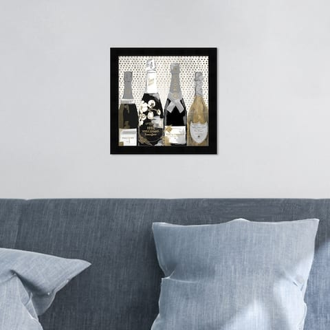 Oliver Gal 'Pass the Bottle Night' Drinks and Spirits Framed Wall Art Prints Champagne - Black, Gold