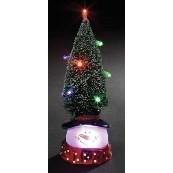 "9.75"" Battery Operated LED Lighted Christmas Tree with Snowman Head Decoration"