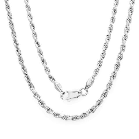 Sterling Silver 2.25mm Italian Diamond-cut Rope Chain (16-24Inch) By Roberto Martinez - White