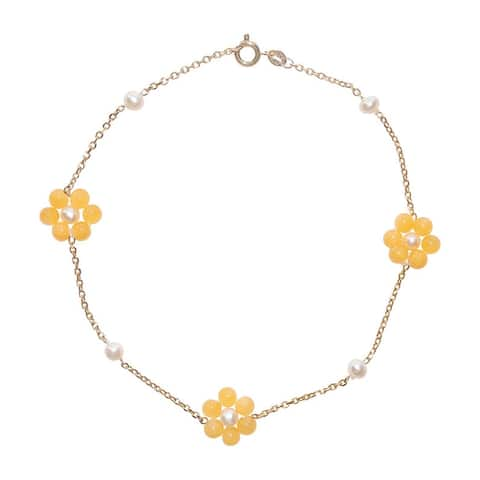 Yellow Jade and Pearl Daisy Ankle Bracelet - Size 9 or 10