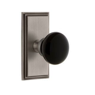 """Grandeur CARCOV_PSG_238  Carre Solid Brass Rose Passage Door Knob Set with Coventry Knob and 2-3/8"""" Backset"""