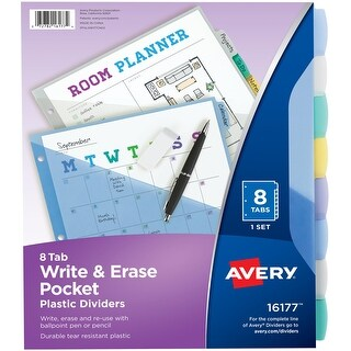 Avery Write & Erase Durable Plastic Dividers With Pockets-8 Multicolor Tabs, 1 Set