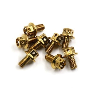 8Pcs Gold Tone Titanium Alloy Motorcycle Bolts Screws Fastener M6 X 10mm
